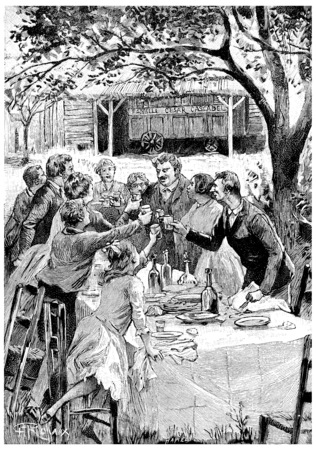 came: They came to see them every year, vintage engraved illustration. Jules Verne Cesar Cascabel, 1890. Stock Photo