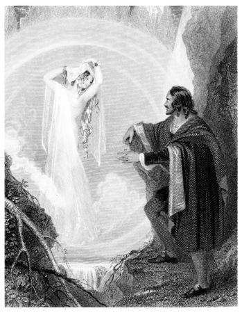 vane: Speranza appearing to vane among the mountains, vintage engraved illustration.