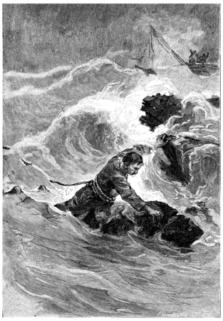 fell: John Branican fell in the middle of the blades, vintage engraved illustration. Jules Verne Mistress Branican, 1891.