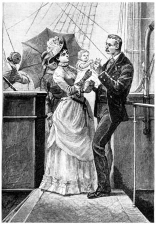 mistress: The baby held out his arms to his father, vintage engraved illustration. Jules Verne Mistress Branican, 1891.