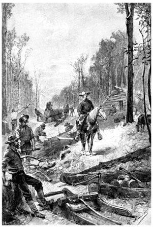 herrin: Junge Starter wurde gro�e Landstriche, Jahrgang gravierte Darstellung Clearing. Jules Verne Herrin Branican 1891. Lizenzfreie Bilder