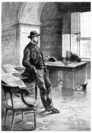 len: Len Burker opened an office, vintage engraved illustration. Jules Verne Mistress Branican, 1891.