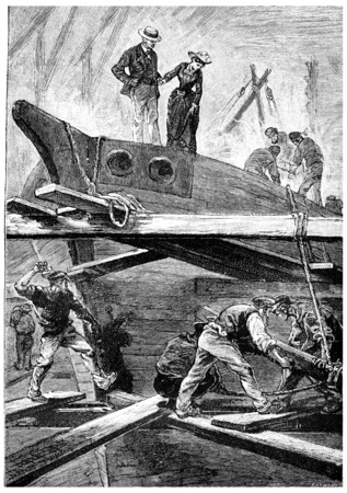 often: Very often, Dolly accompanied the captain, vintage engraved illustration. Jules Verne Mistress Branican, 1891.