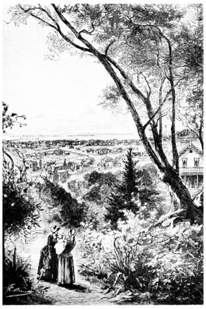 herrin: Der Blick erstreckte sich über die gesamte Stadt, Jahrgang gravierte Darstellung. Jules Verne Herrin Branican 1891.