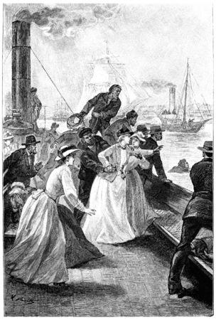 herrin: Dolly Dolly rief jane, Jahrgang gravierte Darstellung. Jules Verne Herrin Branican 1891. Lizenzfreie Bilder