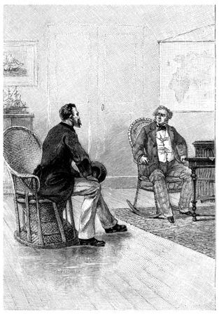 mistress: Len Burker having come find William Andrew, vintage engraved illustration. Jules Verne Mistress Branican, 1891. Stock Photo