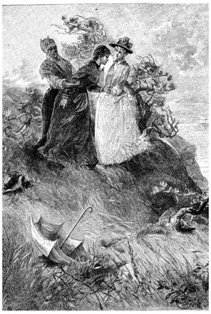 herrin: Komm, komm mein Dolly. sagte Jane, Jahrgang gravierte Darstellung. Jules Verne Herrin Branican 1891.