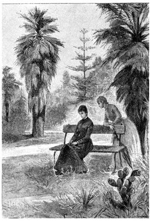 bane: O a bane or walking with Jane, vintage engraved illustration. Jules Verne Mistress Branican, 1891.
