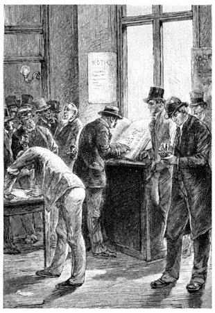 Abonnementen was net geopend, vintage gegraveerde illustratie. Jules Verne Meesteres Branican, 1891.