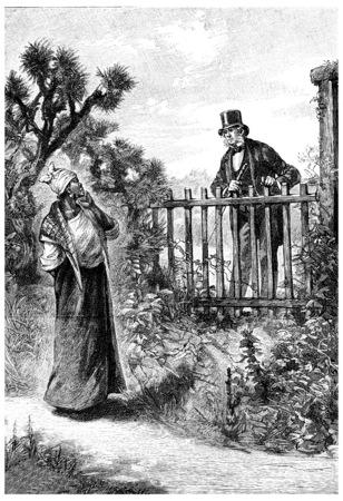 guy standing: William Andrew talking to her over the fence, vintage engraved illustration. Jules Verne Mistress Branican, 1891.