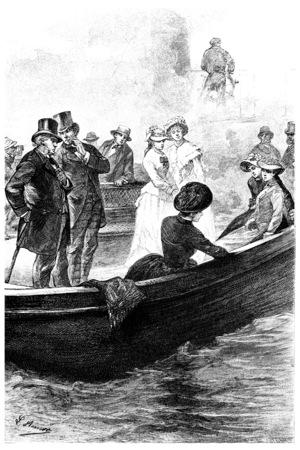 señora: Los pasajeros habían reconocido la señora Branican, ilustración de la vendimia grabado. Jules Verne Mistress Branican, 1891.