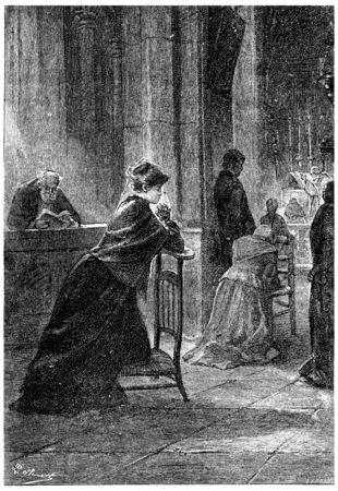 herrin: Kniend auf einem niedrigen Stuhl, graviert Weinleseillustration. Jules Verne Herrin Branican 1891. Lizenzfreie Bilder