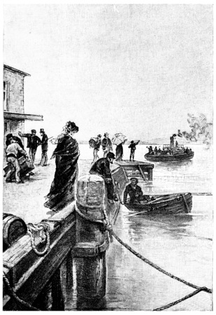 pier: A boat was coming off of the pier, vintage engraved illustration. Jules Verne Mistress Branican, 1891. Stock Photo