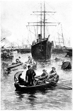 san diego: He was in the port of San Diego a number of steamers, vintage engraved illustration. Jules Verne Mistress Branican, 1891.