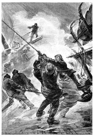 blades: The blades pounding so furiously, vintage engraved illustration. Jules Verne Mistress Branican, 1891.