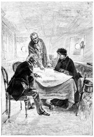 told: Captain Ellis told the story of his expedition, vintage engraved illustration. Jules Verne Mistress Branican, 1891. Stock Photo
