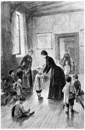 señora: Sra Branican venía todos los días a visitar, ilustración de la vendimia grabado. Jules Verne Mistress Branican, 1891.