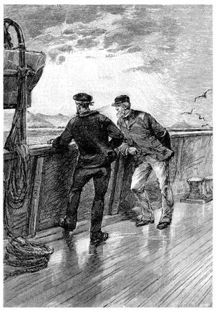 herrin: Das ist sehr seltsam, beobachtet Zach Fren, Jahrgang gravierte Darstellung. Jules Verne Herrin Branican 1891.