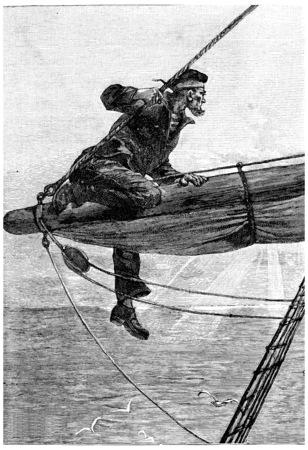 herrin: Als er auf den Stangen reiten, graviert Weinleseillustration. Jules Verne Herrin Branican 1891. Editorial
