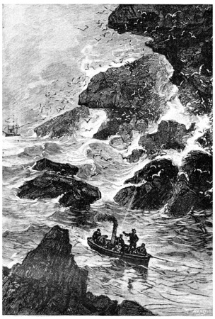 mistress: The vessel engaged through the pass, vintage engraved illustration. Jules Verne Mistress Branican, 1891.