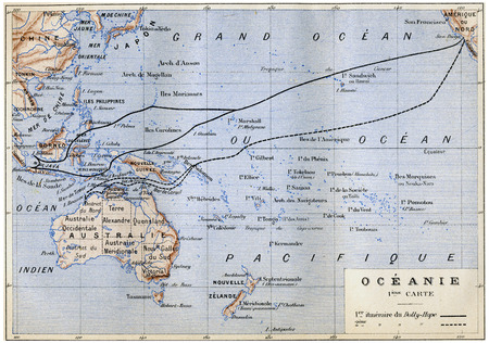 herrin: Ozeanien, Jahrgang gravierte Darstellung. Jules Verne Herrin Branican 1891.