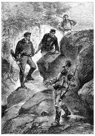 herrin: An dieser Stelle wurde die Eröffnung einer engen, gewundenen, Jahrgang gravierte Darstellung. Jules Verne Herrin Branican 1891.