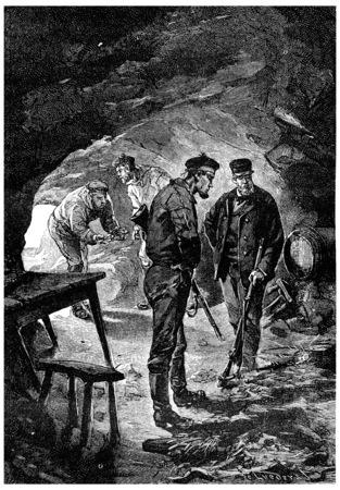De ongelukkige! riep Zach Fren, vintage gegraveerde illustratie. Jules Verne Meesteres Branican, 1891.