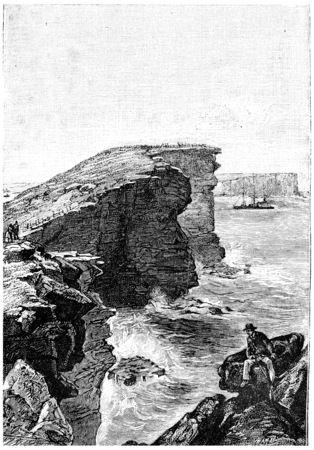 port jackson: The steamer entered the bay of Port Jackson, vintage engraved illustration. Jules Verne Mistress Branican, 1891. Editorial