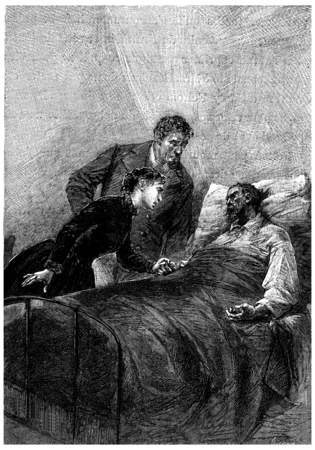 herrin: Am Leben? fragte sie, Jahrgang gravierte Darstellung. Jules Verne Herrin Branican 1891. Editorial