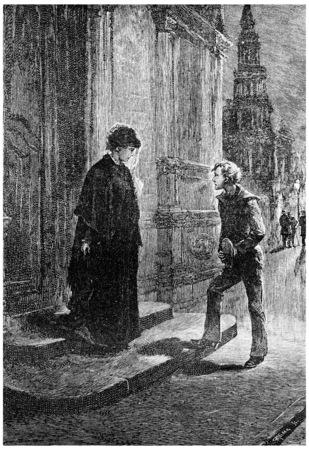 herrin: Sie wurde von einem kleinen Jungen, Jahrgang gravierte Darstellung angesprochen. Jules Verne Herrin Branican 1891.