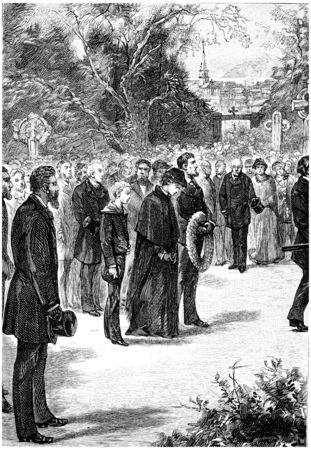 herrin: In der N�he von ihr, ging die junge Novizin, Jahrgang gravierte Darstellung. Jules Verne Herrin Branican 1891.