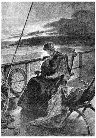 señora: Sra Branican permaneció en cubierta, sentado en la parte trasera, ilustración de la vendimia grabado. Jules Verne Mistress Branican, 1891.