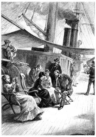 herrin: Passagiere zeigen ihm extreme Rücksicht, Jahrgang gravierte Darstellung. Jules Verne Herrin Branican 1891. Editorial