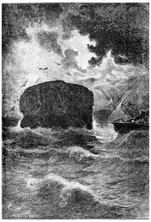 mistress: Brisbane crossed Bass Strait during the evening, vintage engraved illustration. Jules Verne Mistress Branican, 1891. Stock Photo