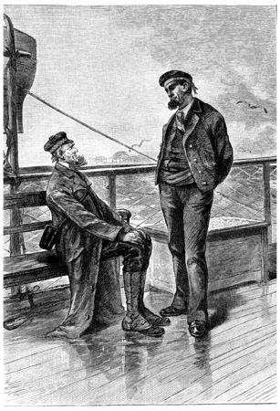 herrin: Master Zach Fren, ich denke? Jahrgang gravierte Darstellung. Jules Verne Herrin Branican 1891. Editorial