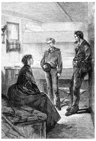 particularly: I particularly eager to know where you are not?, vintage engraved illustration. Jules Verne Mistress Branican, 1891.