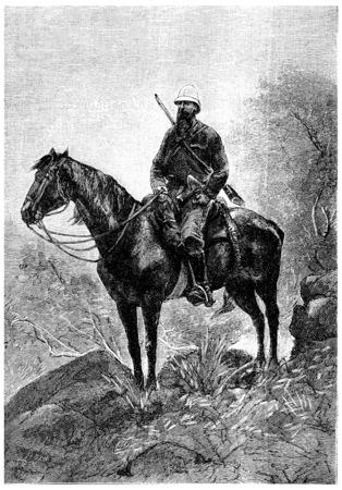 herrin: Tom Marix, eine robuste und entschlossene Begleiter, Jahrgang gravierte Darstellung. Jules Verne Herrin Branican 1891.