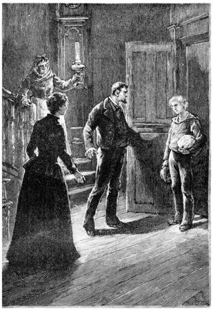 herrin: Zach Fren nicht zurückhalten konnte einen Ausruf der Überraschung, Jahrgang gravierte Darstellung. Jules Verne Herrin Branican 1891.