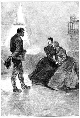 herrin: Es wird vereinbart, Len Burker Sie dort, Jahrgang gravierte Darstellung. Jules Verne Herrin Branican 1891. Editorial