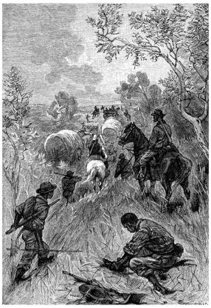 herrin: Len Burker, Reiten ein ziemlich gutes Pferd, kamen und gingen, Jahrgang gravierte Darstellung. Jules Verne Herrin Branican 1891.