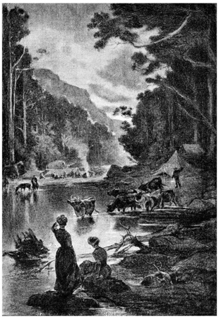 mistress: During the past on the edge of the Finke-river a few hours, vintage engraved illustration. Jules Verne Mistress Branican, 1891.