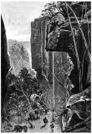 herrin: Auf den engen Schluchten gelungen, durch Schluchten, Jahrgang gravierte Darstellung abgeschnitten. Jules Verne Herrin Branican 1891. Editorial