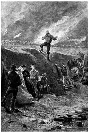 herrin: Warning, rief Tom Marix, Jahrgang gravierte Darstellung. Jules Verne Herrin Branican 1891.
