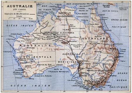 mistress: Australia, annata illustrazione inciso. Jules Verne Padrona Branican 1891.