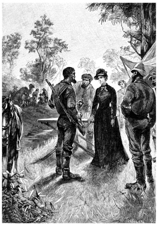 herrin: Mrs. Branican hatten Spaß dabei Ursache, Jahrgang gravierte Darstellung. Jules Verne Herrin Branican 1891. Lizenzfreie Bilder