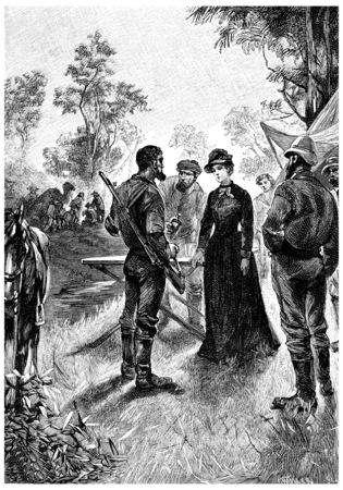 mrs: Sra Branican se divirti� haciendo causa, ilustraci�n de la vendimia grabado. Jules Verne Mistress Branican, 1891.