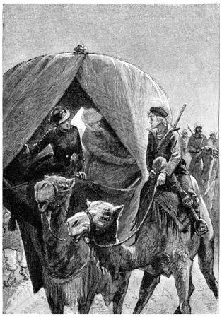 herrin: Wenn der liebe Junge kam in der Nähe unseres kibitka, Jahrgang gravierte Darstellung. Jules Verne Herrin Branican 1891.