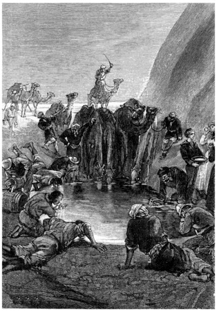 cool off: It is with delight that each of us can cool off, vintage engraved illustration. Jules Verne Mistress Branican, 1891. Stock Photo