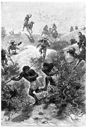 running camel: People were able to escort them out, vintage engraved illustration. Jules Verne Mistress Branican, 1891.