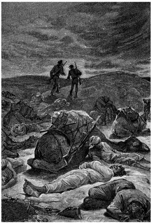 herrin: Manchmal, manchmal der andere, stand auf, Jahrgang gravierte Darstellung. Jules Verne Herrin Branican 1891. Lizenzfreie Bilder